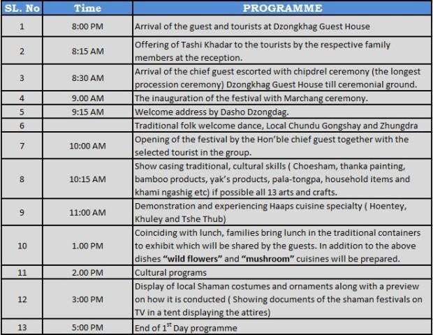 Haa Festival programme Day 1