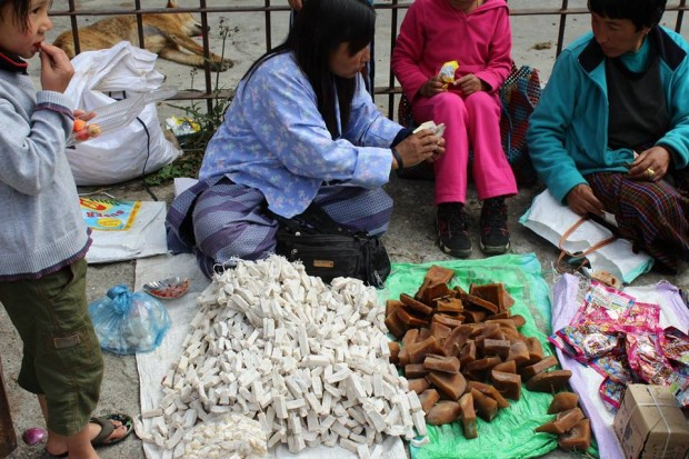 Hardened cheese made out  of yak or cow milk, a familiar sight in weekend marketmarket